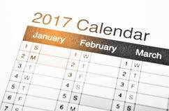 de kalender van 2017 Stock Afbeelding