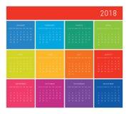 de kalender van 2018 Stock Afbeeldingen