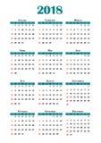 de kalender van 2018 Royalty-vrije Stock Afbeelding