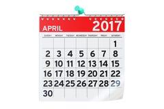 De kalender van april 2017, het 3D teruggeven Stock Foto's