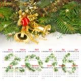 de kalender van 2016 Beeld van de close-up van Kerstmisklokken Royalty-vrije Stock Foto
