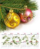 de kalender van 2016 Beeld van het close-up van Kerstmisballen Stock Foto's