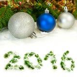 de kalender van 2016 Beeld van Kerstmisballen Royalty-vrije Stock Foto's