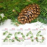 de kalender van 2016 Beeld van Kerstmiskegels Royalty-vrije Stock Foto's