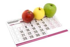 De kalender van de appel met kleur drie stock afbeeldingen
