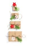 De kalender van de kerstboomkomst Verpakte giftdozen Royalty-vrije Stock Afbeelding