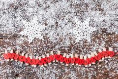 De kalender van de Kerstmiskomst met sneeuw Stock Foto