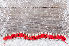 De kalender van de Kerstmiskomst met sneeuw Stock Fotografie