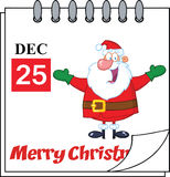 De Kalender van de Kerstmisvakantie met Jolly Santa Claus With Open Arms Stock Afbeeldingen