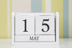 De kalender van de kubusvorm voor 15 MEI Royalty-vrije Stock Foto