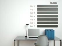De Kalender van de muur Het concept van de het beheersorganisator van het programmamemorandum 3d teruggevend binnenland Stock Afbeeldingen
