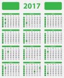 De kalender 2017 van de V.S., met officiële vakantie Royalty-vrije Stock Foto's