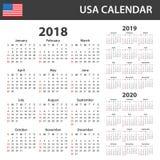De Kalender van de V.S. voor 2018, 2019 en 2020 Planner, agenda of agendamalplaatje Het begin van de week op Zondag Royalty-vrije Stock Afbeelding