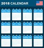 De Kalender van de V.S. voor 2018 Planner, agenda of agendamalplaatje Het begin van de week op Zondag Royalty-vrije Stock Afbeelding