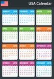 De Kalender van de V.S. voor 2018 Planner, agenda of agendamalplaatje Het begin van de week op Zondag Royalty-vrije Stock Afbeeldingen
