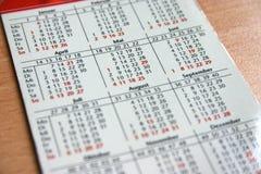 De kalender van de zak Royalty-vrije Stock Foto's