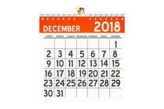 De kalender van december 2018, het 3D teruggeven Royalty-vrije Stock Fotografie