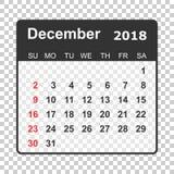 De kalender van december 2018 Het ontwerpmalplaatje van de kalenderontwerper Week s Stock Afbeelding