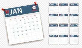 de kalender van 2018 in document stickers met spelden en Schotse stijl Blauw en Rood Gebeurtenisontwerper Royalty-vrije Stock Foto