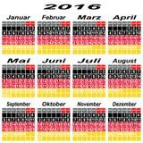 De kalender van Duitsland van 2016 Stock Afbeeldingen
