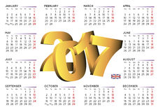 de kalender van 2017 in Engelse horizontale witte UK2 Stock Fotografie
