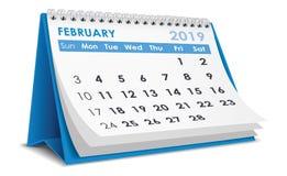 De kalender van februari 2019 vector illustratie