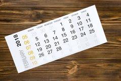De kalender van februari 2018 op houten lijst Stock Foto