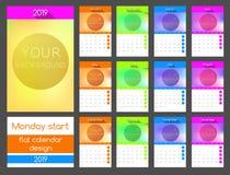 De kalender 2019 van het maandagbegin Verticaal vectorontwerp stock illustratie