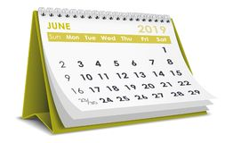 De kalender van juni 2019 royalty-vrije illustratie