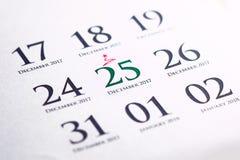 De kalender van de Kerstmisdag op agenda Stock Foto
