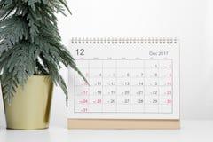 De kalender 2017 van Kerstmisdecember Stock Foto's