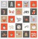 De kalender van de Kerstmiskomst met symbolen Royalty-vrije Stock Afbeeldingen