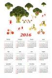 de kalender van 2016 Kleine grappige mensen van groenten en vruchten Stock Fotografie
