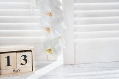 De kalender van de kubusvorm voor 13 Mei en witte orchidee, royalty-vrije stock foto
