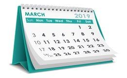 De kalender van maart 2019 stock illustratie