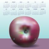 de kalender van 2014 met appel Stock Afbeeldingen