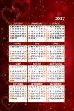 de kalender van 2017 met decoratie Stock Afbeeldingen