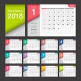 de kalender van 2018 Modern het ontwerpmalplaatje van de bureaukalender Stock Afbeelding