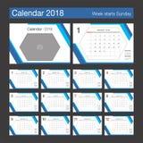 de kalender van 2018 Modern het ontwerpmalplaatje van de bureaukalender met plaats F Stock Fotografie