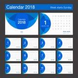 de kalender van 2018 Modern het ontwerpmalplaatje van de bureaukalender Weekbegin Royalty-vrije Stock Afbeeldingen