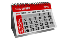 De kalender van november 2018 vector illustratie