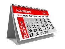 De kalender van november 2017 Stock Fotografie