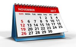 De kalender van november 2017 Royalty-vrije Stock Afbeeldingen