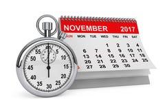 De kalender van november 2017 met chronometer het 3d teruggeven Stock Foto