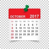De kalender van oktober 2017 Stock Foto's