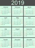 de kalender van 2019 op blauwe achtergrond stock afbeeldingen