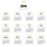 de kalender van 2014 op herinneringen Royalty-vrije Stock Afbeeldingen