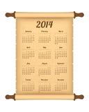 de kalender van 2014 op perkamentbroodje Stock Afbeelding