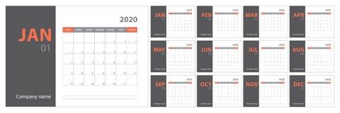 de kalender van 2020 planning Engelse ontwerper Ð ¡ olor vectormalplaatje Het begin van de week op Zondag stock illustratie