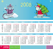 De kalender van ratten voor 2008 Royalty-vrije Stock Afbeeldingen